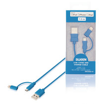 2 in 1 oplaad kabel 1 meter Blauw, Micro USB - Apple Lightning
