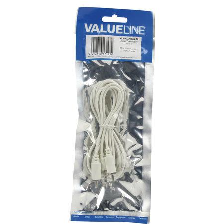 Valueline 2x Tulp (RCA) - Jack 3.5mm Stereo kabel 2 meter WIT