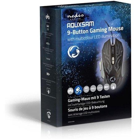 Nedis Dr. Gaming PC Muis Bedraad Verlicht 4000 DPI - 9 Knoppen