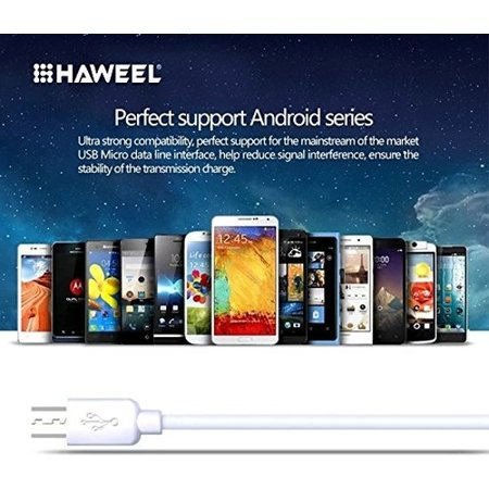 HAWEEL Nokia oplader - Nokia oplaad kabel - Micro USB  2 meter wit