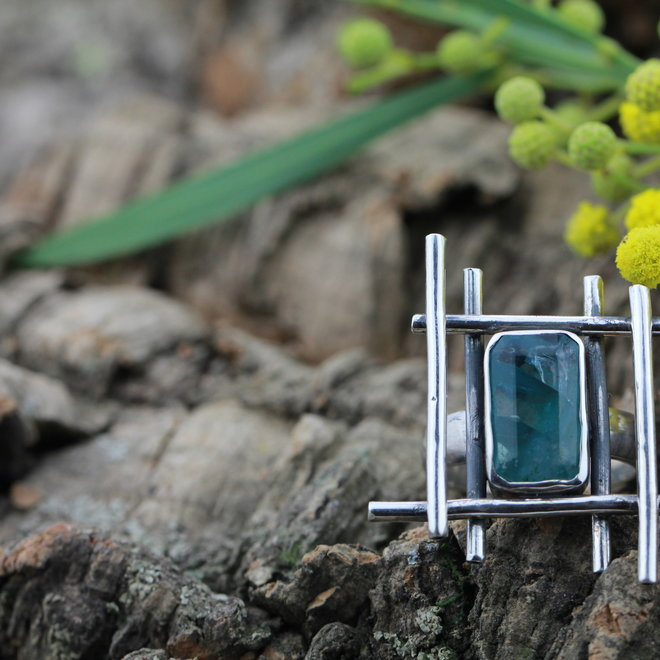 Designer ring Zeldzame Blauwe Fluoriet Modern Art