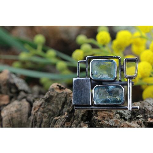 Ring Blauwe Fluoriet Modern Art2