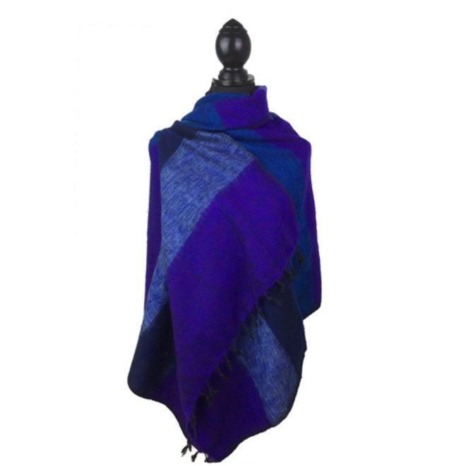 De mooiste kwaliteit sjaals/omslagdoeken uit Nepal! - Blauw/paars gestreept