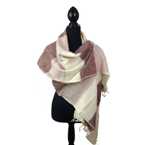 Sjaal wit/crème/bruin gestreept