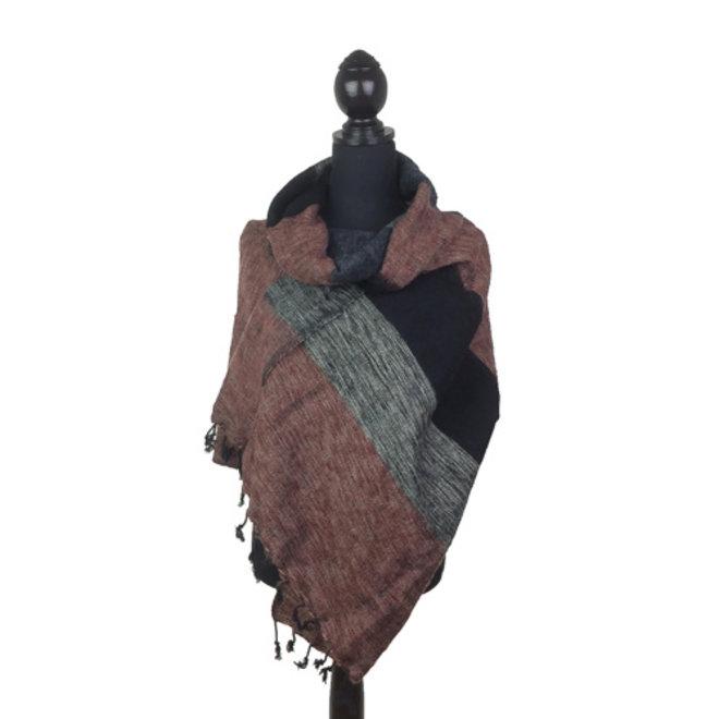 Sjaal bruin/zwart/grijs gestreept
