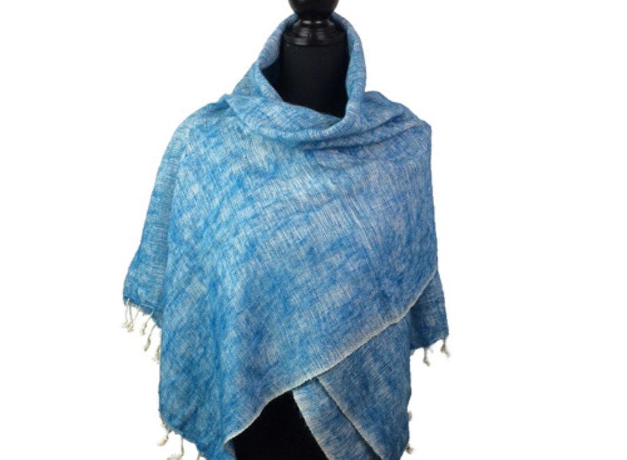 De mooiste kwaliteit sjaals/omslagdoeken uit Nepal! - Lichtblauw