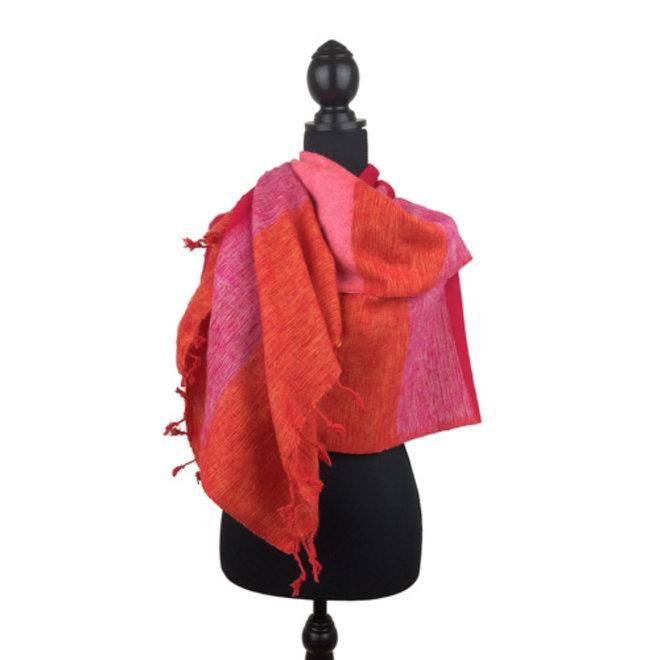 De mooiste kwaliteit sjaals/omslagdoeken uit Nepal! - Roze Oranje