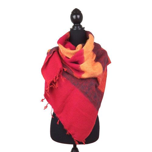 Sjaal oranje/rood gestreept