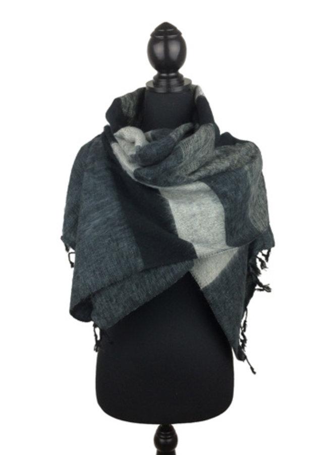 De mooiste kwaliteit sjaals/omslagdoeken uit Nepal! - Zwart/grijs gestreept