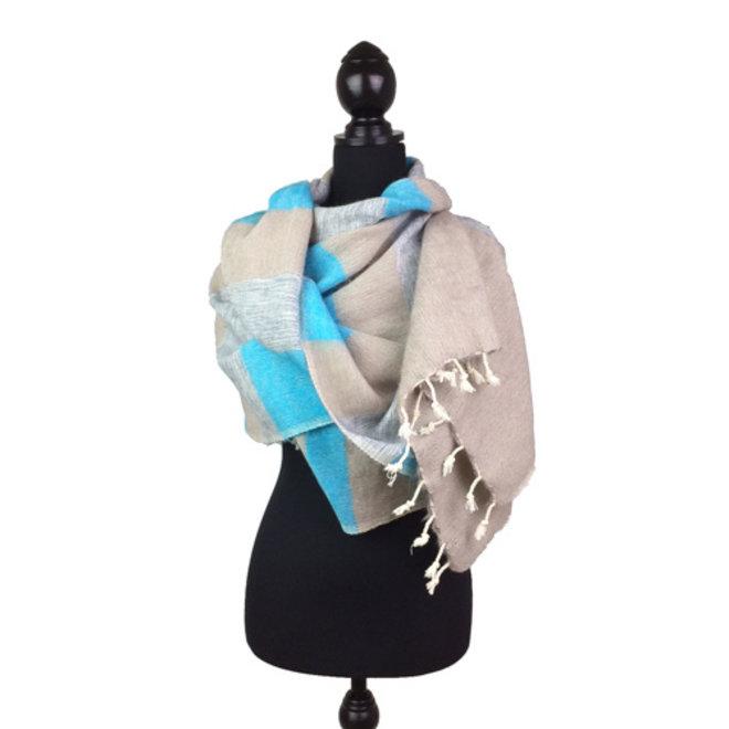 De mooiste kwaliteit sjaals/omslagdoeken uit Nepal! - Blauw/grijs gestreept