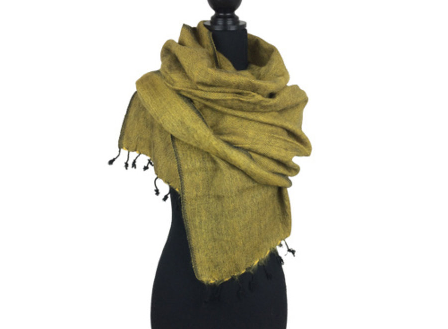 De mooiste kwaliteit sjaals/omslagdoeken uit Nepal! - Geelgroen