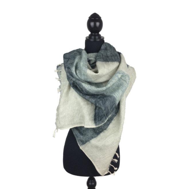 De mooiste kwaliteit sjaals/omslagdoeken uit Nepal! - Wit/grijs gestreept