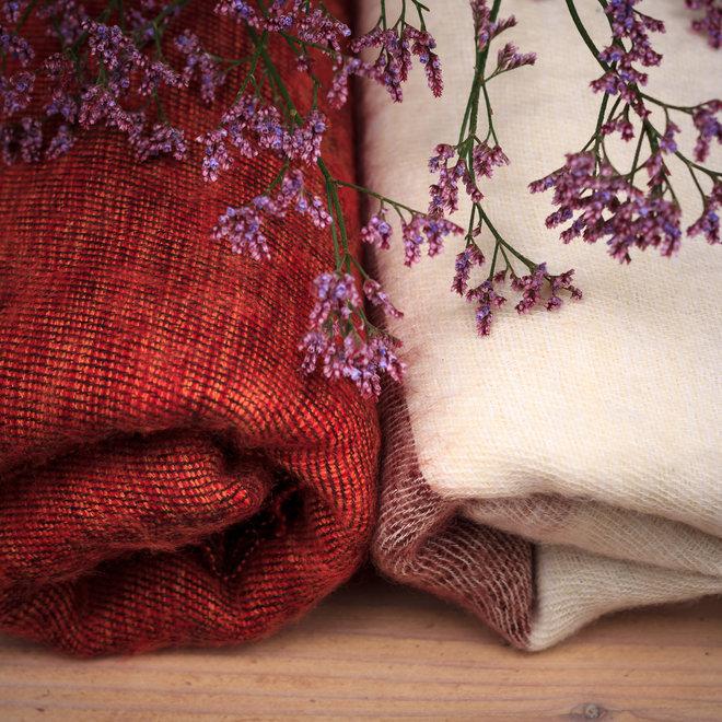 De mooiste kwaliteit sjaals uit Nepal! - Wit/crème/bruin gestreept