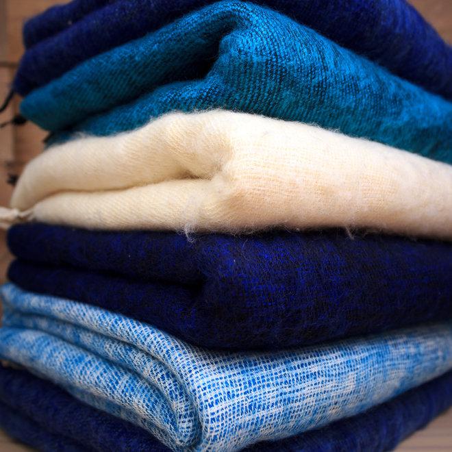 De mooiste kwaliteit sjaals/omslagdoeken uit Nepal! - Koningsblauw