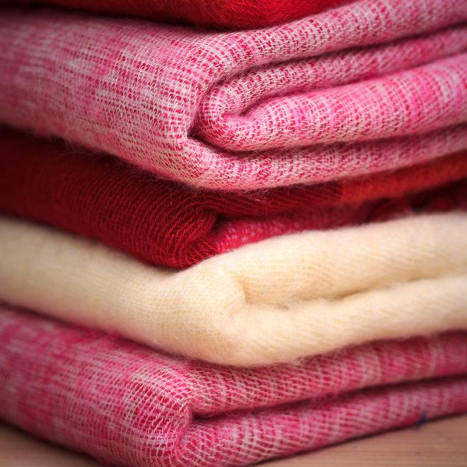 De mooiste kwaliteit sjaals/omslagdoeken uit Nepal! - Oranje/rood gestreept