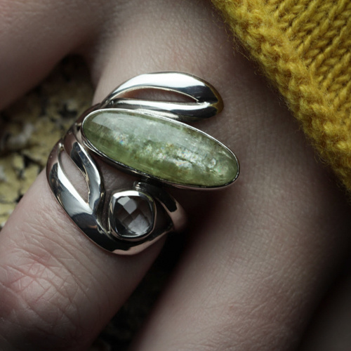 groene kyaniet ring hand eigen ontwerp