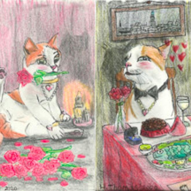 Valentijnskaarten Nemo - restaurant en rozen - set van 10