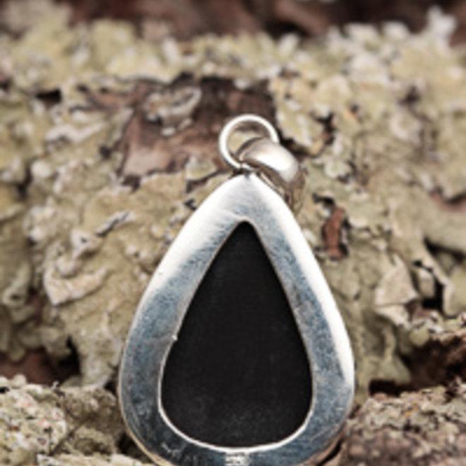 Zwarte toermalijn hanger 'Bimdu', gezet in 925 zilver