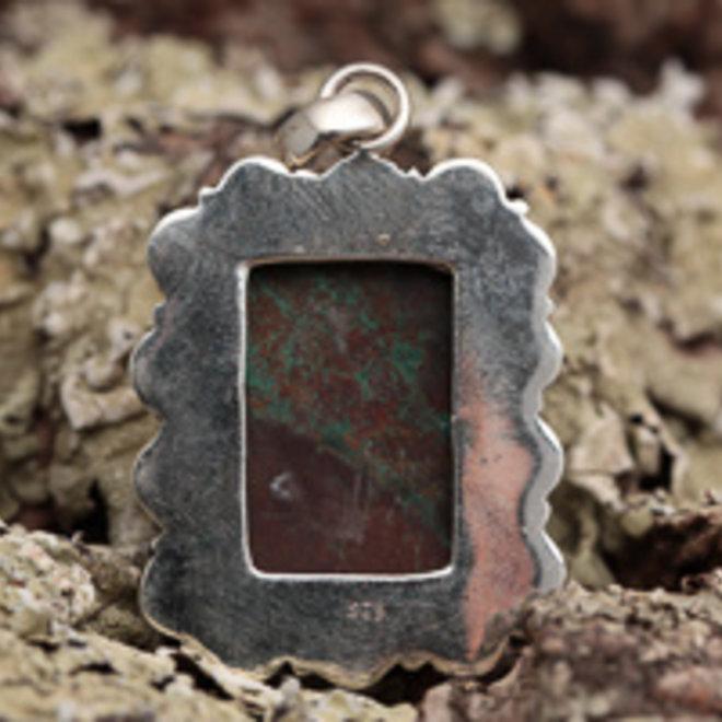 Chrysocolla hanger 'Copper', van 925 zilver