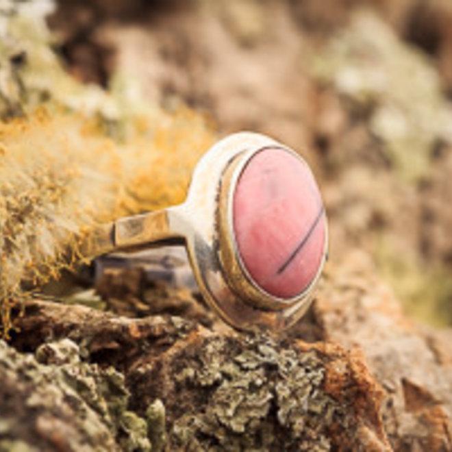 Rhodoniet ring Ovaal