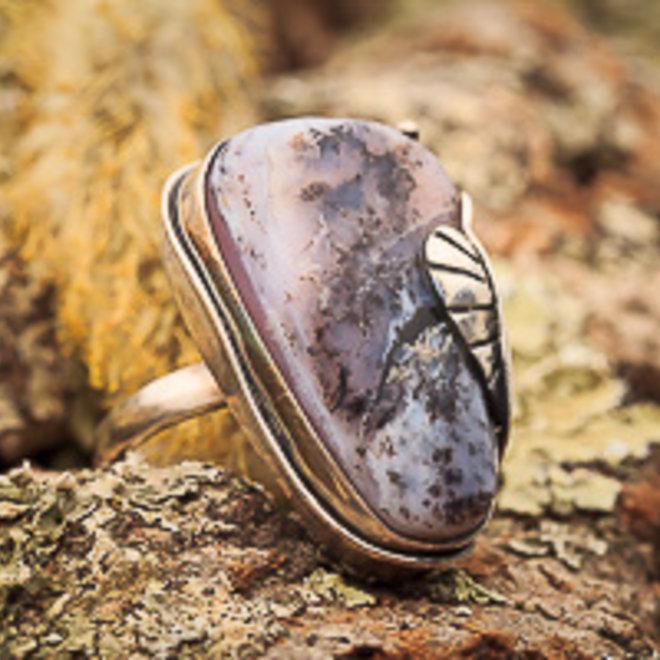 Roze andesopaal ring 'Suave', gezet in 925 zilver uit eigen atelier