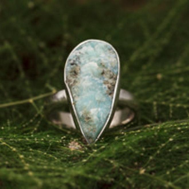 Ring Ruwe Larimar Druppel