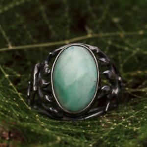 Black silver Ring Larimar
