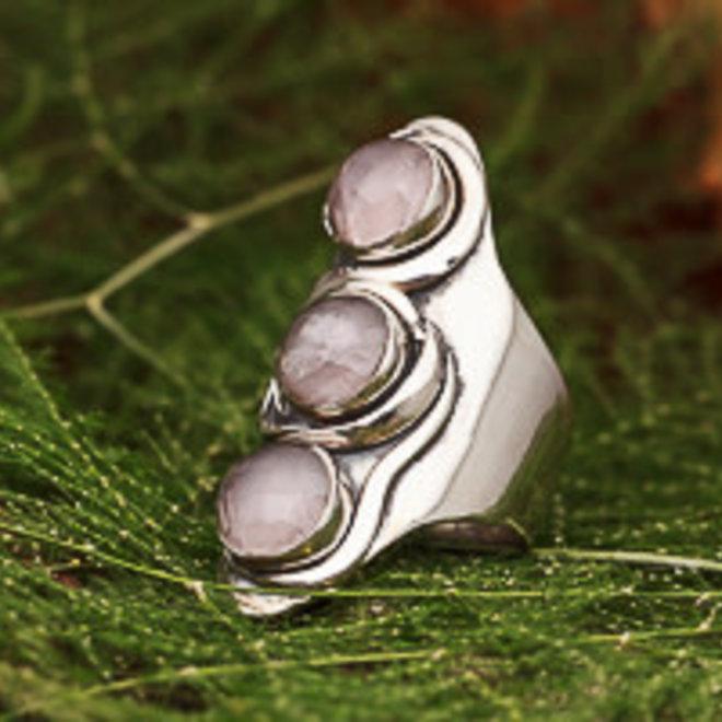 Ring Rozenkwarts Drie Stenen
