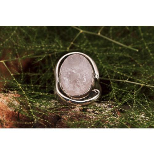 Ring Rozenkwarts Ovaal Ruw