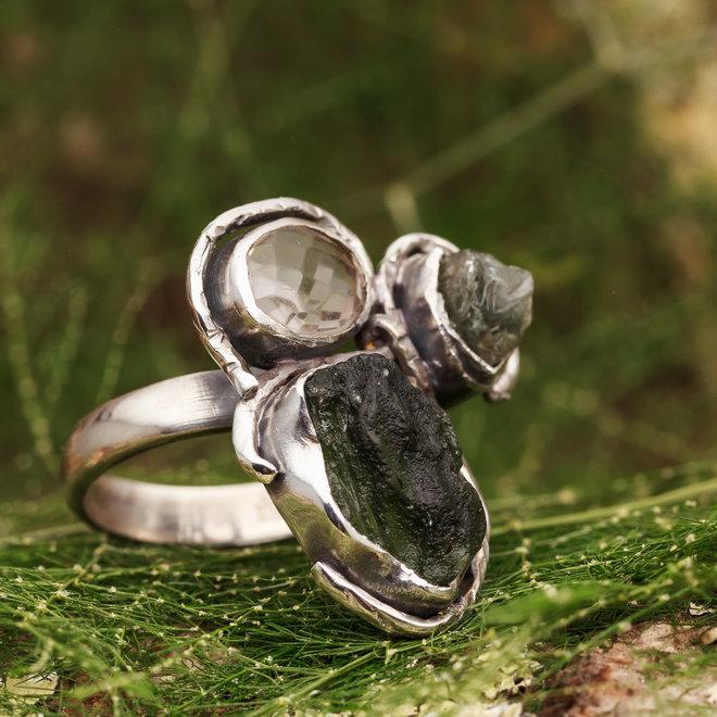Moldaviet en bergkristal ring 'Tvar'