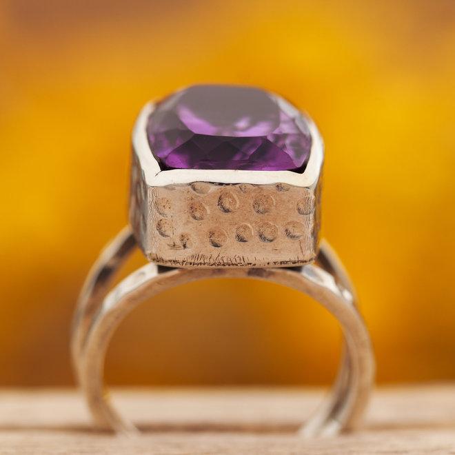 Amethist ring 'Doublé', gezet in 925 zilver