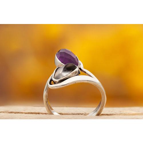 Ring Amethist met Bergkristal
