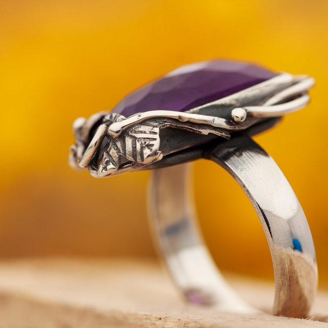 Ring Amethist Facet Floraal