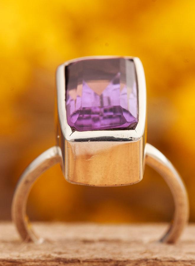 Ring Amethist Facet Rechthoek