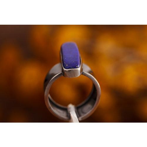 Black Silver Ring Lapis Lazuli Rechthoek