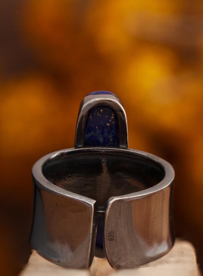 Lapis Lazuli Ring Blacksilver Rechthoek