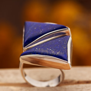 Ring Lapis Lazuli Driehoeken