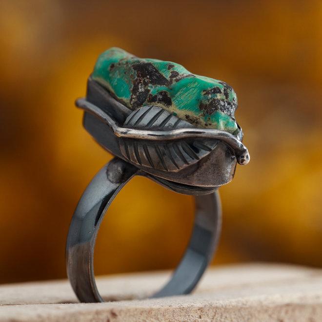 Black Silver Ring Ruwe Turkoois