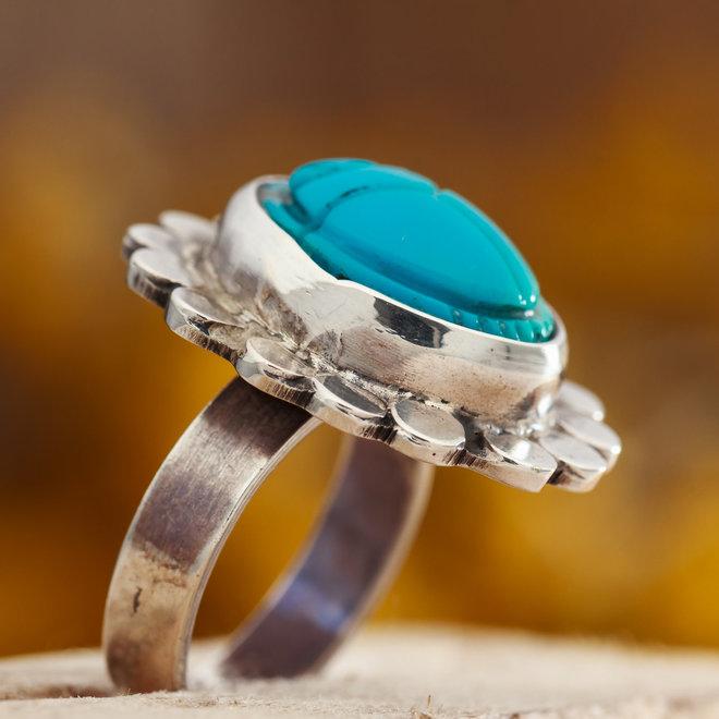 Turkoois open ring 'Petalis scarab' gezet in 925 zilver