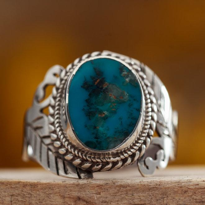Turkoois ring 'Foliorum' gezet in 925 zilver