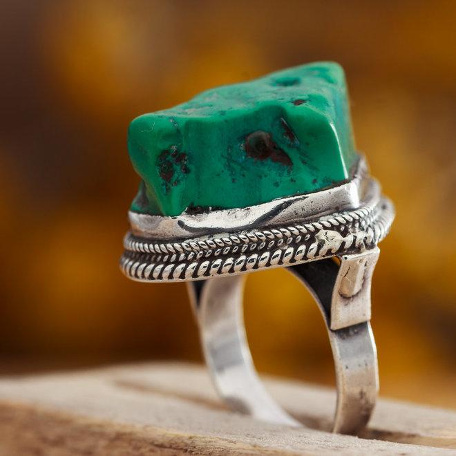 Turkoois ring 'Aspero' gezet in 925 zilver