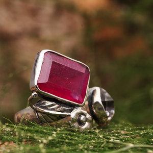 Open Ring Robijn met Herkimer Diamant