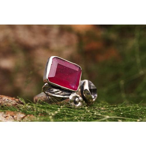 Robijn met Herkimer Diamant open ring 'Fantasia'