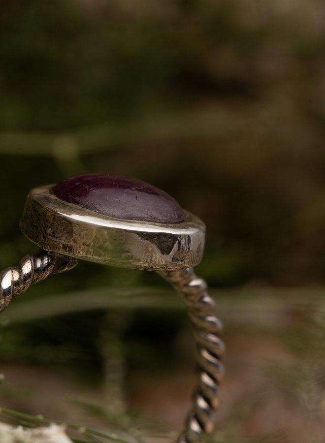 Ring robijn 'Rotante' gezet in 925 zilver