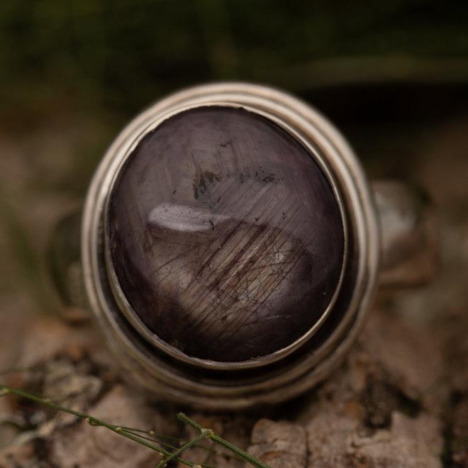 Sterrobijn ring 'Circum' gezet in 925 zilver ronde vorm