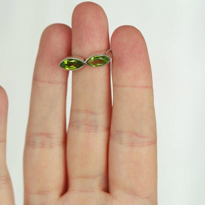 Peridot dubbele markies ring