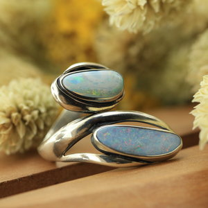 Australische Opaal ring 'Duplici'