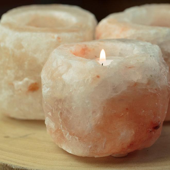 Zoutkristal waxinelicht houder
