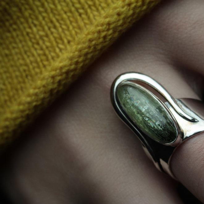 """Groene Kyaniet ring """"Stellos"""" van 925 zilver uit eigen atelier"""