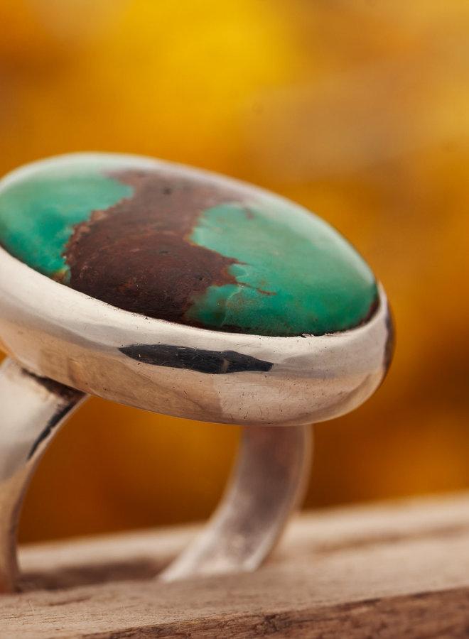 Turkoois ring 'Vinculum' gezet in 925 zilver
